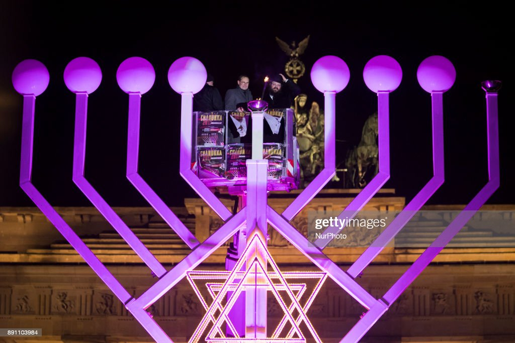 Hanukkah candelabra at Brandenburg Gate