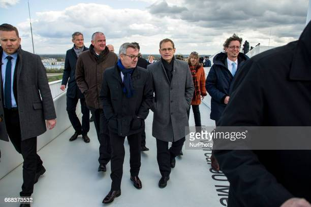 Berlin's Mayor Michael Mueller on the Wolkenhain during the opening of the IGA 2017 in Berlin Germany on April 13 2017 The exhibition will open from...
