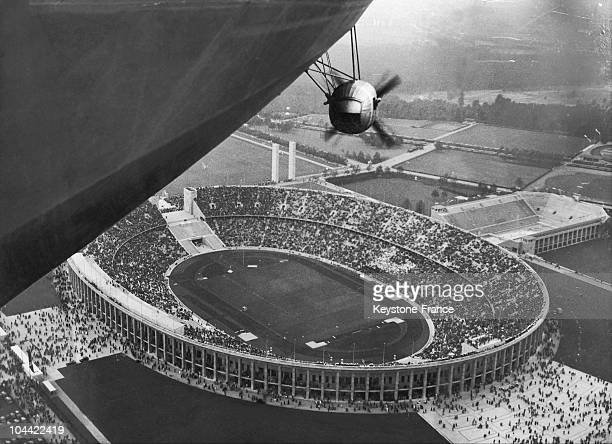 Berlin'S Olympic Stadium In August 1936 Seen From The Hindenburg Zeppelin Whose Propeller And Lower Shell Can Be Seen There Were Numerous Spectators...