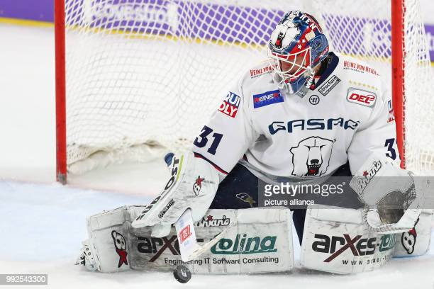Berlin's Petri Vehanen in action during the ice hockey match pitting Nuremberg Ice Tigers vs EHC Red Bull Munich in Nuremberg Germany 06 October 2017...