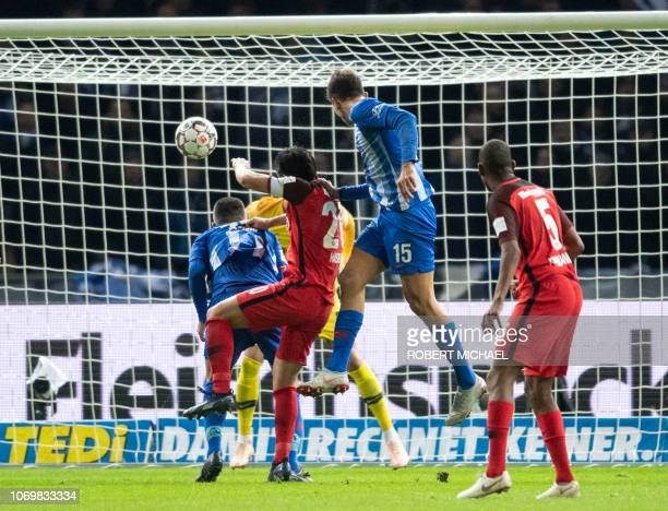 Berlin´s Serbian midfielder Marko Grujic scores the first goal during the German first division Bundesliga football match between Hertha Berlin v...