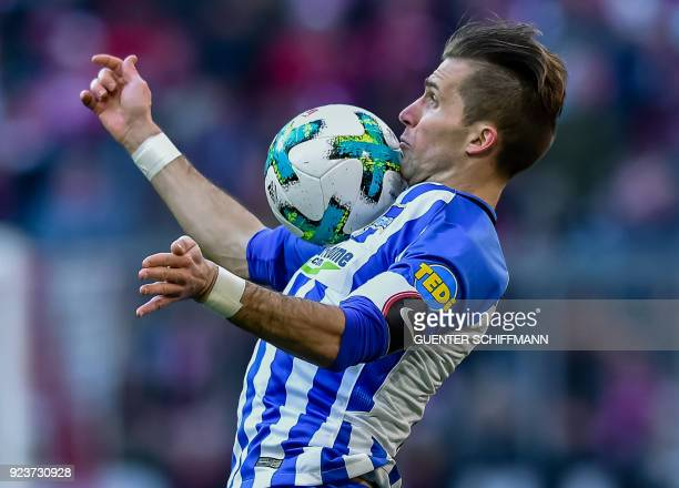 TOPSHOT Berlin's Slovakian defender Peter Pekarik plays the ball during the German first division Bundesliga football match Bayern Munich vs Hertha...