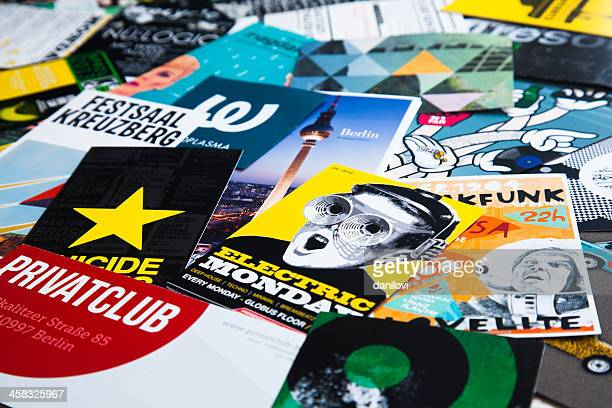 berlin's typography - flyer leaflet stock photos and pictures