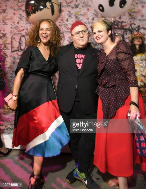 Berly Isaak Alber Elbaz and D'arcy Jensen attend the Alber Elbaz X LeSportsac New York Fashion Week Party at Gallery I at Spring Studios on September...