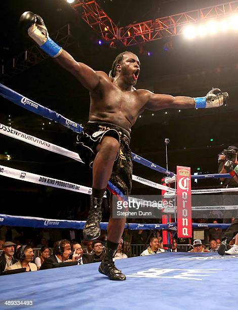 Bermane Stiverne celebrates after the referee stopped the fight against Chris Arreola after stopping WBC Heavyweight Championship match at Galen...