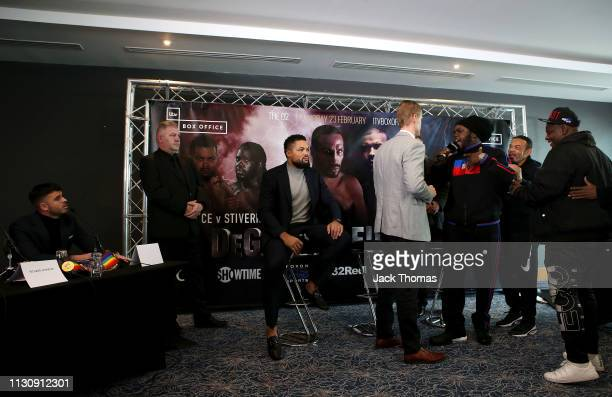 Bermane Stiverne is held back as he has words with Sam Jones the manager of Joe Joyce during the PBC and Poxton Sports undercard press conference...