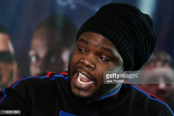 Bermane Stiverne reacts during the PBC and Poxton Sports undercard press conference ahead of a night of boxing at the O2 on Saturday 23rd February at...