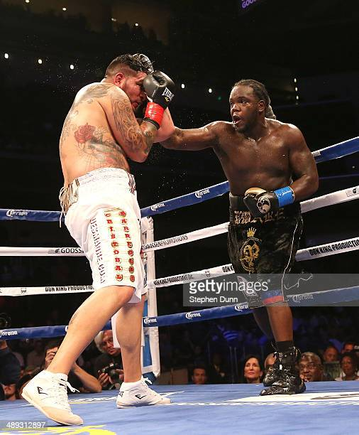 Bermane Stiverne throws a punch at Chris Arreola in their WBC Heavyweight Championship match at Galen Center on May 10 2014 in Los Angeles California...