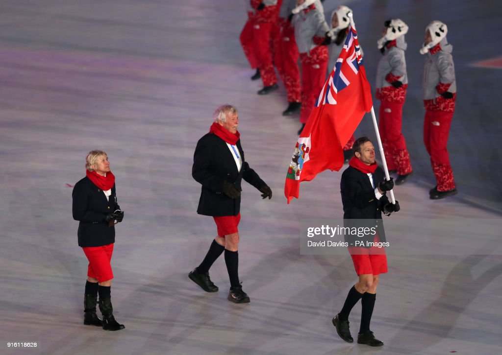 Bermuda flag-bearer Tucker Murphy during the Opening Ceremony of the PyeongChang 2018 Winter Olympic Games at the PyeongChang Olympic Stadium in South Korea.