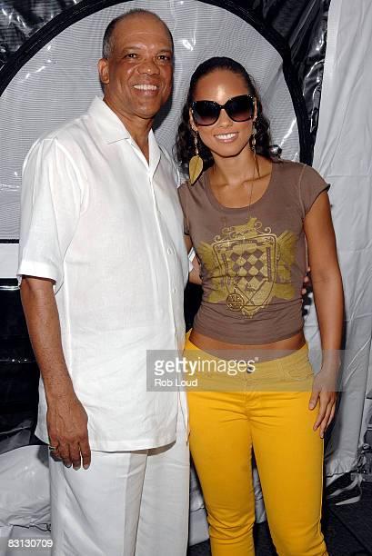 Bermuda Premier Dr Ewart Brown and singer Alicia Keys attend 2008 Bermuda Music Festival at Bermuda National Stadium on October 4 2008 in Hamilton...