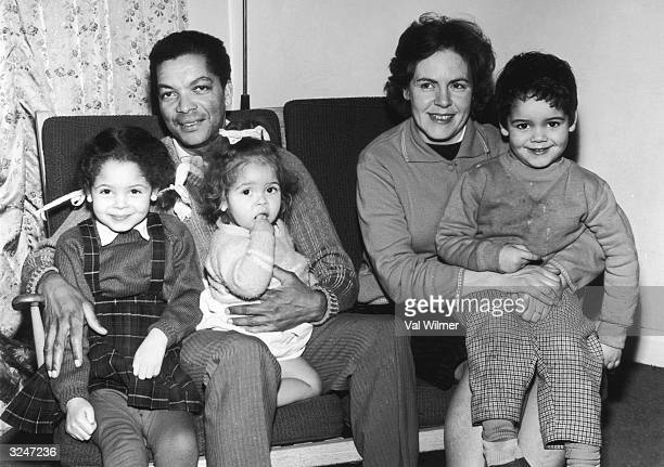 Bermudan actor Earl Cameron with his family in Sheen west London