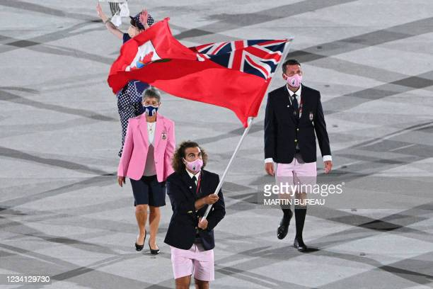 Bermuda's flag bearer Dara Alizadeh leads the delegation during the opening ceremony of the Tokyo 2020 Olympic Games, at the Olympic Stadium, in...