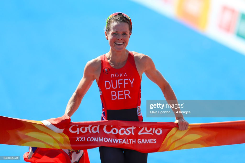 Bermuda's Flora Duffy wins gold in the Women's Triathlon Final at the Southport Broadwater Parklands during day one of the 2018 Commonwealth Games in the Gold Coast, Australia.