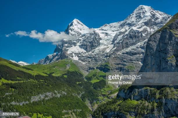 Bern Bernese Oberland Birg Eiger and Moench peaks in the Bernese Alps
