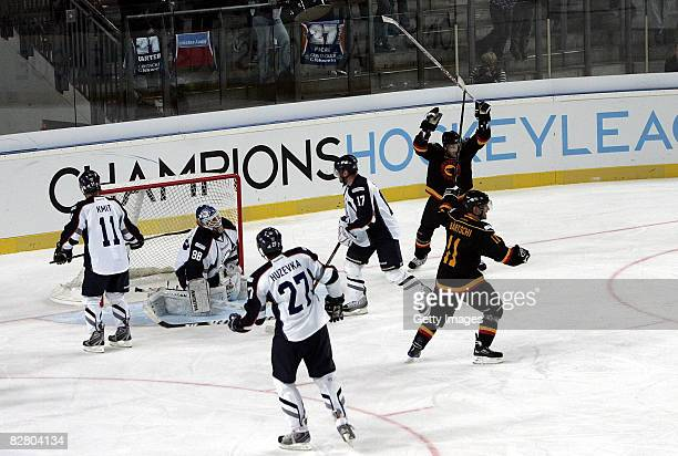 Bern celebrates the 5-4 during the Champions Hockey League Qualification Match between SC Bern and HC Kosice on September 13, 2008 in Nuremberg,...