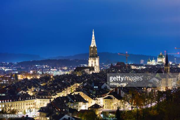 bern cityscape at night, switzerland - bern stock pictures, royalty-free photos & images