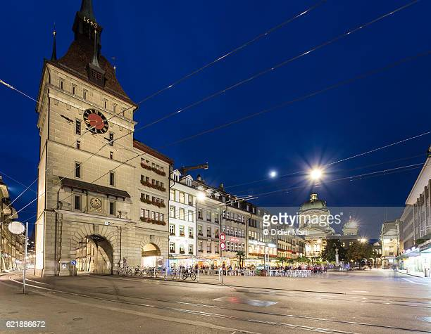 Bern medieval old town with the Federal Palace in Switzerland capital city