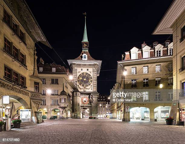 Bern old town at night in Switzerland capital city