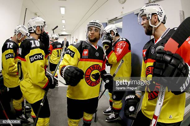 Bern players getting ready for the Champions Hockey League Quarter Final match between Sparta Prague and SC Bern at O2 Arena Prague on December 13,...