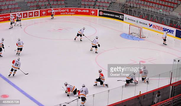 Bern players warm up prior to the Champions Hockey League group stage game between HC Ocelari Trinec and SC Bern on August 21 Trinec, Czech Republic.