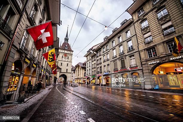 Bern Street nach dem Regen, Schweiz