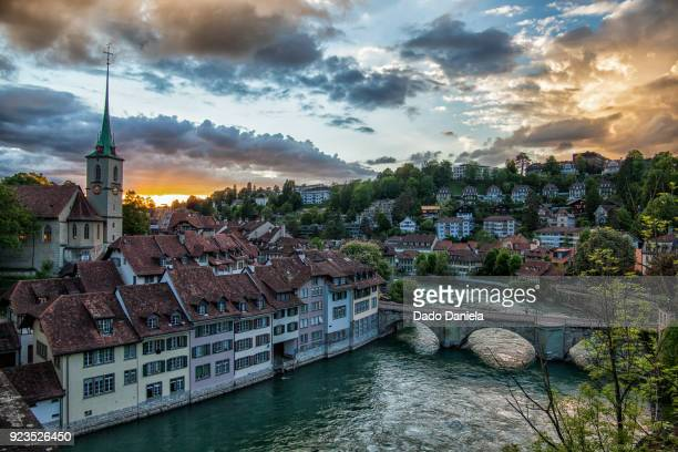 bern sunset - bern canton stock pictures, royalty-free photos & images