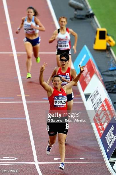 Bernadett Biacsi of Hungary celebrates winning gold in the Womens 800m T20 final during day ten of the IPC World ParaAthletics Championships 2017 at...