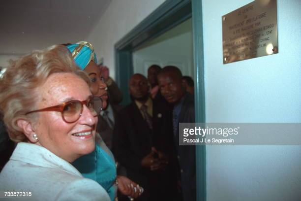 Bernadette Chirac and Edith Lucie Bongo at the inauguration of the AIDS Center in Libreville