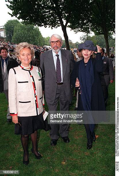 Bernadette Chirac and Gregory Peck at The Arc De Triomphe Grand Prix In Paris