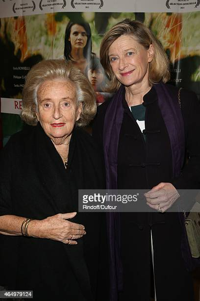 Bernadette Chirac and Isabelle Barnier attend the Talking to the TreesRetour a la Vie Paris screening at Cinema l'Arlequin on March 2 2015 in Paris...