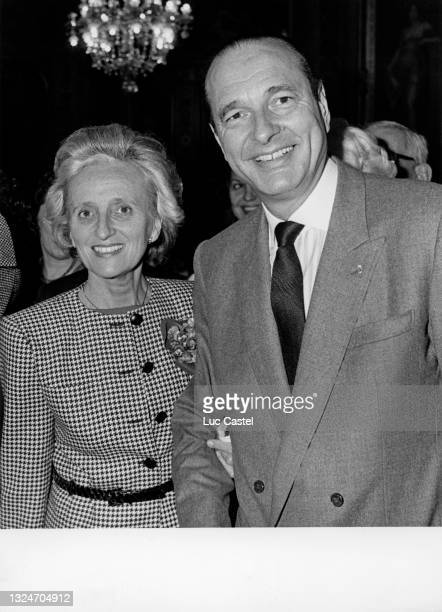 Bernadette Chirac and Jacques Chirac attend the 10th Anniversary of the Election of Jacques Chirac as Mayor of Paris at City Hall on March 27, 1987...