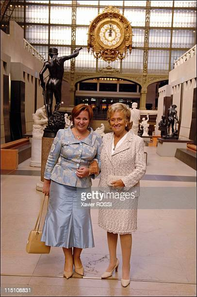 Bernadette Chirac and Lyudmila Putrin visit the Musee d'Orsay to inaugurate an exhibition entitled 'Russian Art' in Paris France on September 19 2005