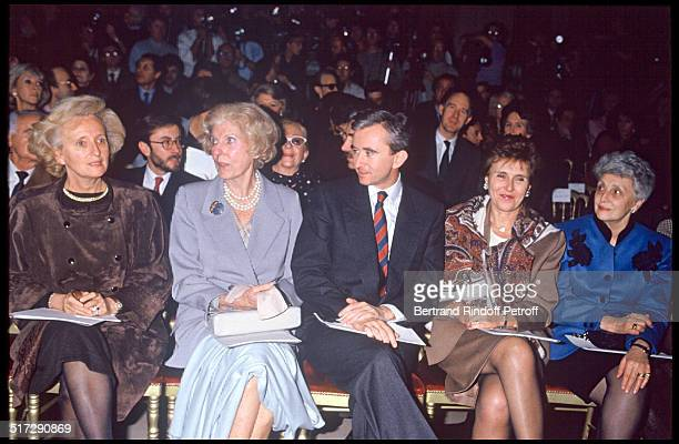 Bernadette Chirac Claude Pompidou Bernard Arnault Edith Cresson and Gilberte Beregovoy Christian Dior Haute Couture fashion show spring summer 1991