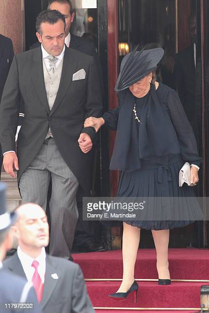 Bernadette Chirac is seen leaving the Hotol de Paris to attend the religious ceremony of the Royal Wedding of Prince Albert II of Monaco to Charlene...