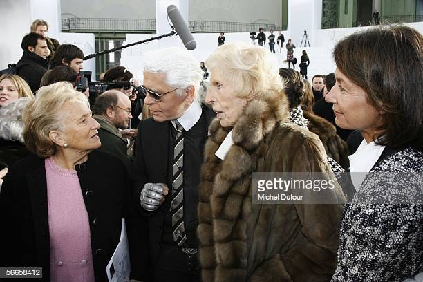 Bernadette Chirac Karl Lagerfeld Claude Pompidou and Liliane Bettancourt are seen backstage at the Chanel fashion show as part of Paris Fashion Week...