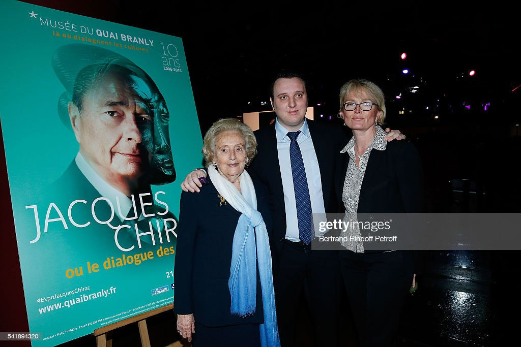 Bernadette Chirac, Martin Rey-Chirac and Claude Chirac attends the 'Jacques Chirac ou le Dialogue des Cultures' Exhibition during the 10th Anniversary of Quai Branly Museum at Musee du Quai Branly on June 20, 2016 in Paris, France.
