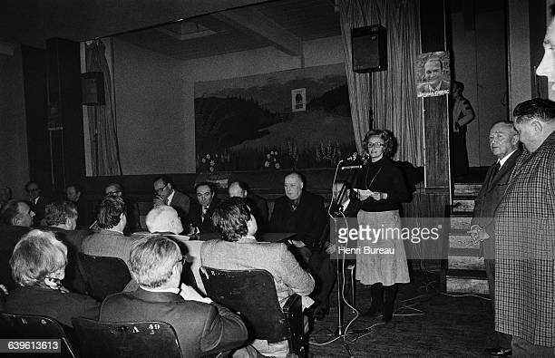 Bernadette Chirac speaking during her campaign for a local election in Correze departement