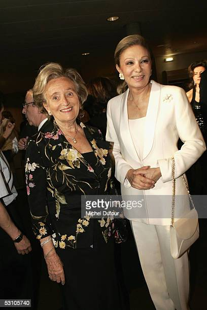 Bernadette Chirac wife of French President Jacques Chirac poses with Empress Farah Diba of Iran during Le Concert de la Paix held to raise funds for...