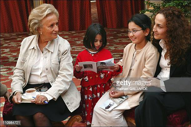 Bernadette Chirac with Mansoura Karima and Afghan author Massouda Akbari in Paris France on September 10 2003