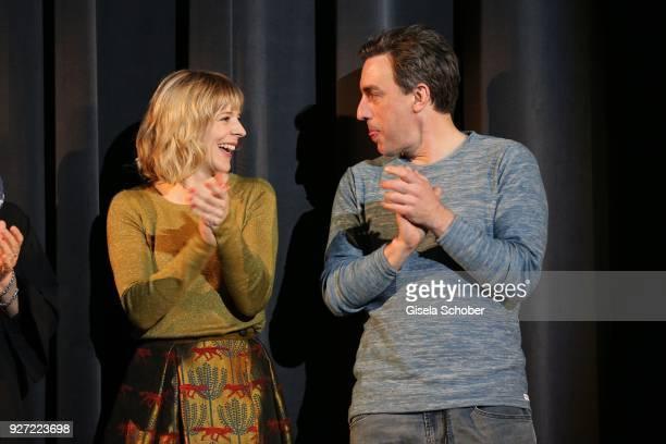 Bernadette Heerwagen and Alexander Schubert during the 'Fuenf Freunde und das Tal der Dinosaurier' premiere at Mathaeser Kino on March 4, 2018 in...