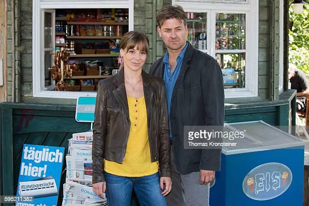 Bernadette Heerwagen and Marcus Mittermeier pose at the on set photocall for the film 'Muenchen Mord Auf der Strasse nachts allein' on August 25 2016...