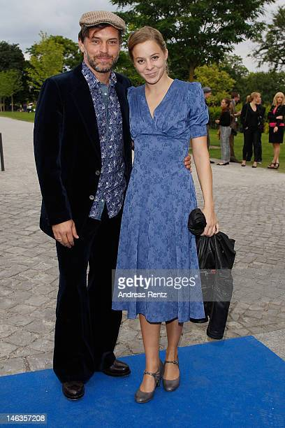 Bernadette Heerwagen and partner Ole Puppe attend the producer party 2012 of the German producers alliance on June 14 2012 in Berlin Germany