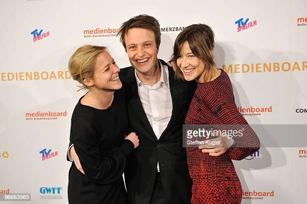 Bernadette Heerwagen, August Diehl and Johanna Wokalek attend the Medienboard Reception 2010 during day four of the 60th Berlin International Film...
