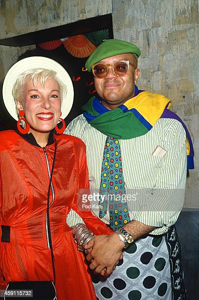 Bernadette Laffont and Guy Cuevas attend a fashion week Party at Les Bains Douches in the 1980s in Paris France