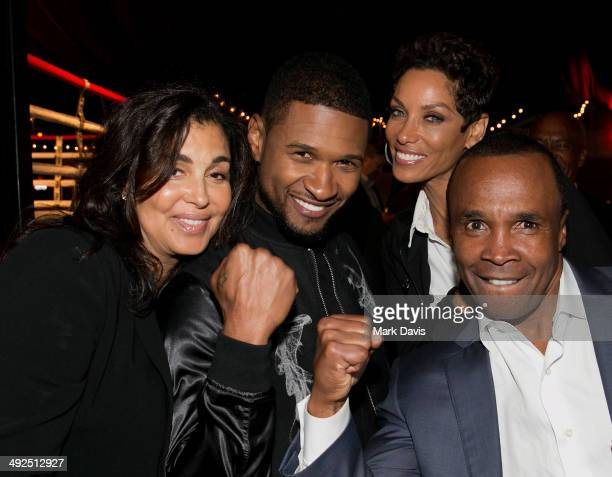 Bernadette Leonard recording artist Usher television personality Nicole Murphy and Former professional boxer Sugar Ray Leonard attend the B Riley Co...