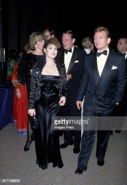 Bernadette Peters and Bob Mackie photographed at Metropolitan Museum of Art Costume Institute Exhibit 'Man and the Horse' on December 3 1984 at the...
