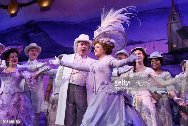 Bernadette Peters and cast take their opening night bow during 'Hello Dolly' on Broadway at Shubert Theatre on February 22 2018 in New York