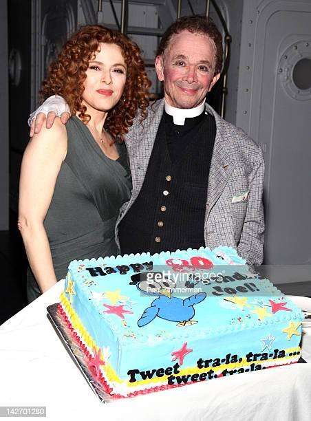 Bernadette Peters and Joel Grey attend the Anything Goes celebration of Joel Grey's 80th birthday at the Stephen Sondheim Theatre on April 11 2012 in...