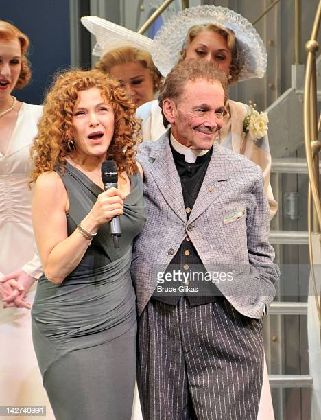 Bernadette Peters and Joel Grey during the curtain call of the Anything Goes celebration of Joel Grey's 80th birthday at the Stephen Sondheim Theatre...