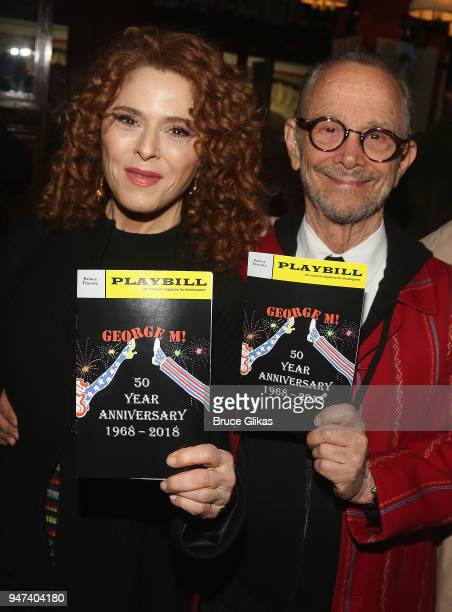 Bernadette Peters and Joel Grey pose at the 50th Anniversary Reunion of the cast of the legendary Broadway Musical George M at Sardis on April 16...
